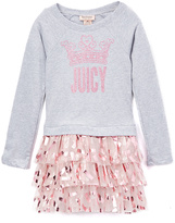 Juicy Couture Gray & Pink Logo Ruffle Dress - Infant & Toddler