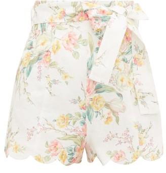 Zimmermann Zinnia Scalloped Floral-print Linen Shorts - Cream Print