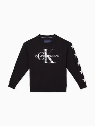 Calvin Klein Monogram Logo Star Pullover Sweatshirt