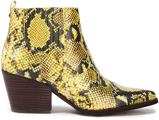 Sam Edelman Winona Snake-effect Leather Ankle Boots