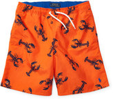 Ralph Lauren Drawstring Lobster Board Shorts, Red, Size 5-7