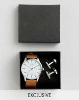 Reclaimed Vintage Tan Leather Watch And Silver Cufflihnks Gift Set