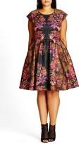 City Chic Plus Size Women's 'Femme Royale' Fit & Flare Dress
