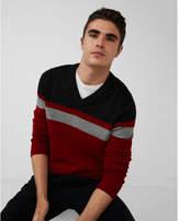 Express color block stripe v-neck sweater