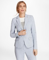Brooks Brothers Petite Striped Stretch Cotton Seersucker Jacket