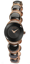 Seksy Ladies' Rose Gold-Plated Black Bracelet Watch