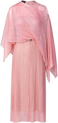 Akris Techno Structured Lines Lace Cape Scarf Midi Dress