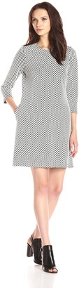 MSK Women's 3/4 Sleeve Printed A-Line Sweater Dress with Exposed Zipper