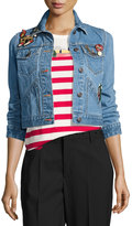 Marc Jacobs Shrunken Denim Jacket with Patches, Blue