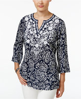 Charter Club Floral-Print Embroidered Tunic, Only at Macy's