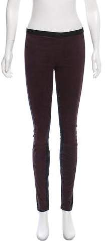 Helmut Lang Mid-Rise Leather Leggings