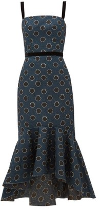 Johanna Ortiz Vase-print Canvas Midi Dress - Black Navy