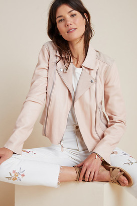 Paige Silvie Leather Moto Jacket By in Purple Size XS