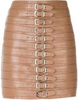 Manokhi - belt embellished short skirt - women - Leather/Polyester/Viscose - 34
