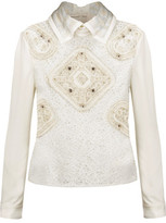 Peter Pilotto Cloqué-Trimmed Embellished Wool-Blend Crochet And Crepe Shirt