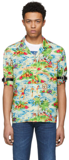 DSQUARED2 Multicolor Printed Hawaiian Shirt