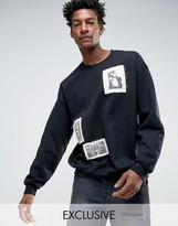 Reclaimed Vintage Inspired Oversized Sweatshirt With Photo Patches