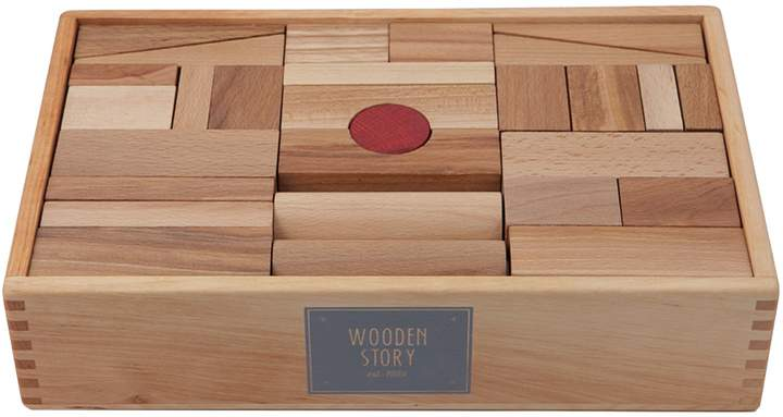 story. Wooden Natural Wooden XL Blocks, 63 Pieces