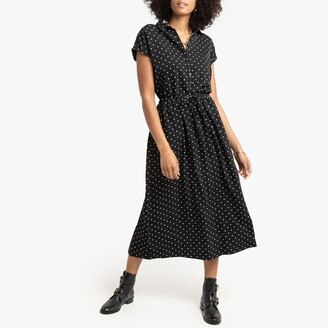 La Redoute Collections Polka Dot Shirt Dress with Tie-Waist
