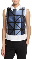 Milly Graphic-Gridded Jacquard Shell, Ice/Black