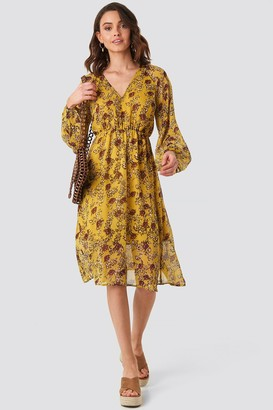 NA-KD Yellow Flower Print Midi Dress Yellow