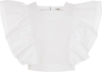 River Island Girls White ruffle front cropped top