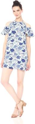 En Creme Women's Cold Shoulder Floral Print Dress