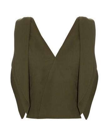 Rosie Assoulin Brush Ya Shoulder Off Cotton-blend Top - Khaki