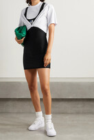 Thumbnail for your product : alexanderwang.t Layered Appliqued Stretch-jersey And Ruched Cotton Mini Dress - Black