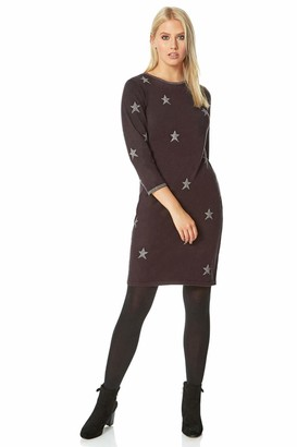 Roman Originals Women Star Embellished Knitted Dress - Ladies Everyday Casual Party 3/4 Sleeve Round Neck Diamante Sparkle Print Fitted Relaxed Warm Knit Autumn Winter Dresses - Grey - Size 18