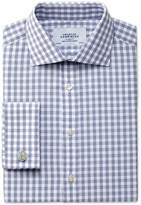 Classic Fit Semi-cutaway Collar Textured Gingham Navy Shirt