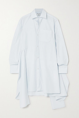 WRIGHT LE CHAPELAIN Asymmetric Organic Cotton-poplin Wrap Dress - Light blue