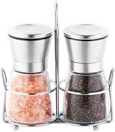 Salt and Pepper Grinder, Pawaca Stainless Steel Seasoning Shaker Set with Holder, Ceramic Rotor and Adjustable Coarseness - 6 Oz