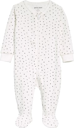 Petit Lem Numbers Print Organic Cotton Fitted One-Piece Pajamas