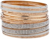 Lux Accessories Rose tone Silvertone Sticker Crystal Rhinestone Bangle Bracelet Set