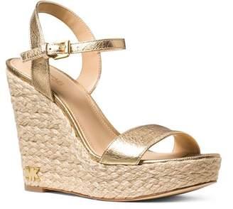 MICHAEL Michael Kors Women's Jill Leather Espadrille Platform Wedge Sandals