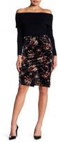 Bobeau Pull On Velvet Print Skirt (Petite)