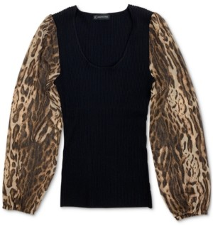 INC International Concepts Inc Animal Print Sleeve Sweater, Created for Macy's