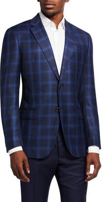 Emporio Armani Men's Tonal Windowpane Wool Sport Jacket