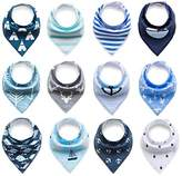 Baby Rarity Bandana Drool Bibs Absorbent Organic Soft Cotton Drool Bib for Teething Toddlers Infants Babies With Adjustable Snaps,12-Pack