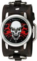 Nemesis Men's 922FRBK Flaming Skull Series Analog Display Japanese Quartz Black Watch