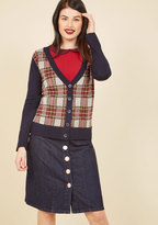 In High-Class Spirits Plaid Cardigan in S