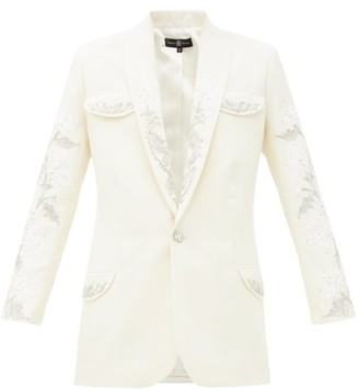 Edward Crutchley Crystal-embellished Single-breasted Wool Jacket - Ivory