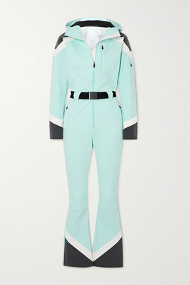Perfect Moment Allos Hooded Belted Color-block Ski Suit - Sky blue