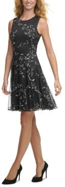 Tommy Hilfiger Embroidered Mesh Fit & Flare Dress