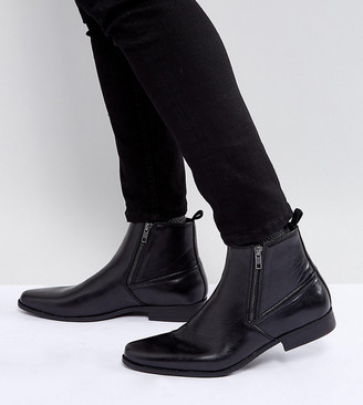 Asos Design Wide Fit Chelsea Boots In Black Faux Leather With Zips