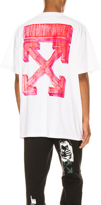 Off-White Marker Over Tee in White & Red | FWRD