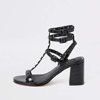 River Island Black wide fit block heel gladiator sandal