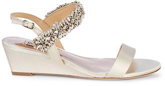 Badgley Mischka Larisa Embellished Satin Wedge Sandals