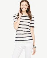 Ann Taylor Puff-Sleeve Linen Sunday Tee - In Stripe